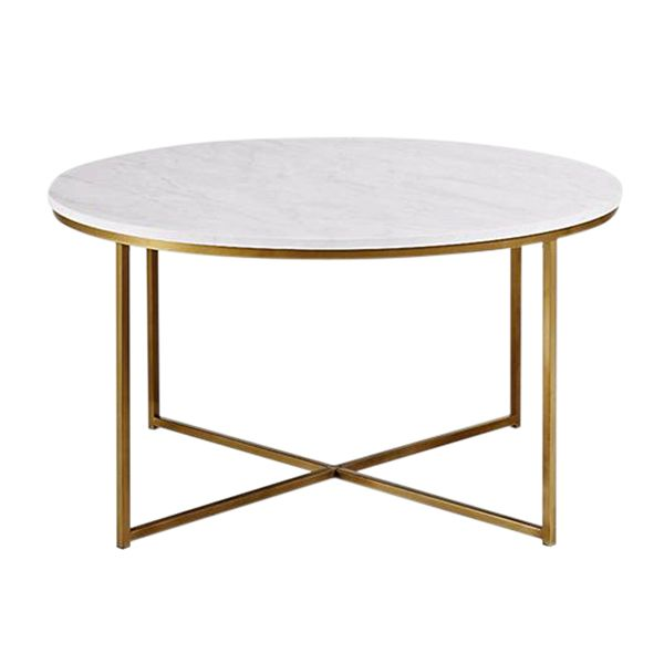 Harrison Coffee Table Gold Cross Section Frame Base And Faux