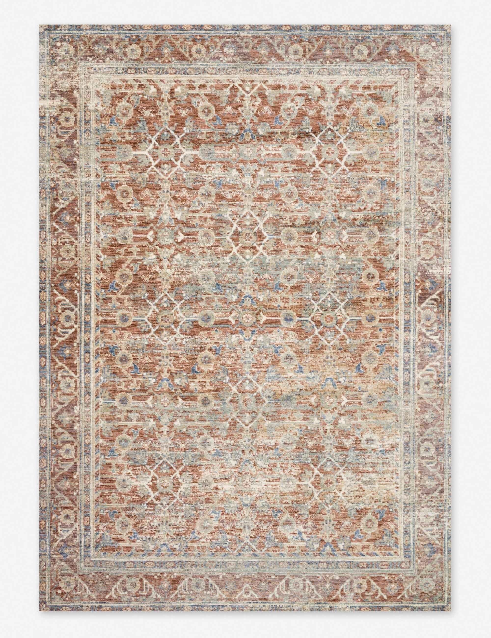 Grey Terracotta Rug Traditional Vintage Area Mat Living Room Dining Floor Carpet