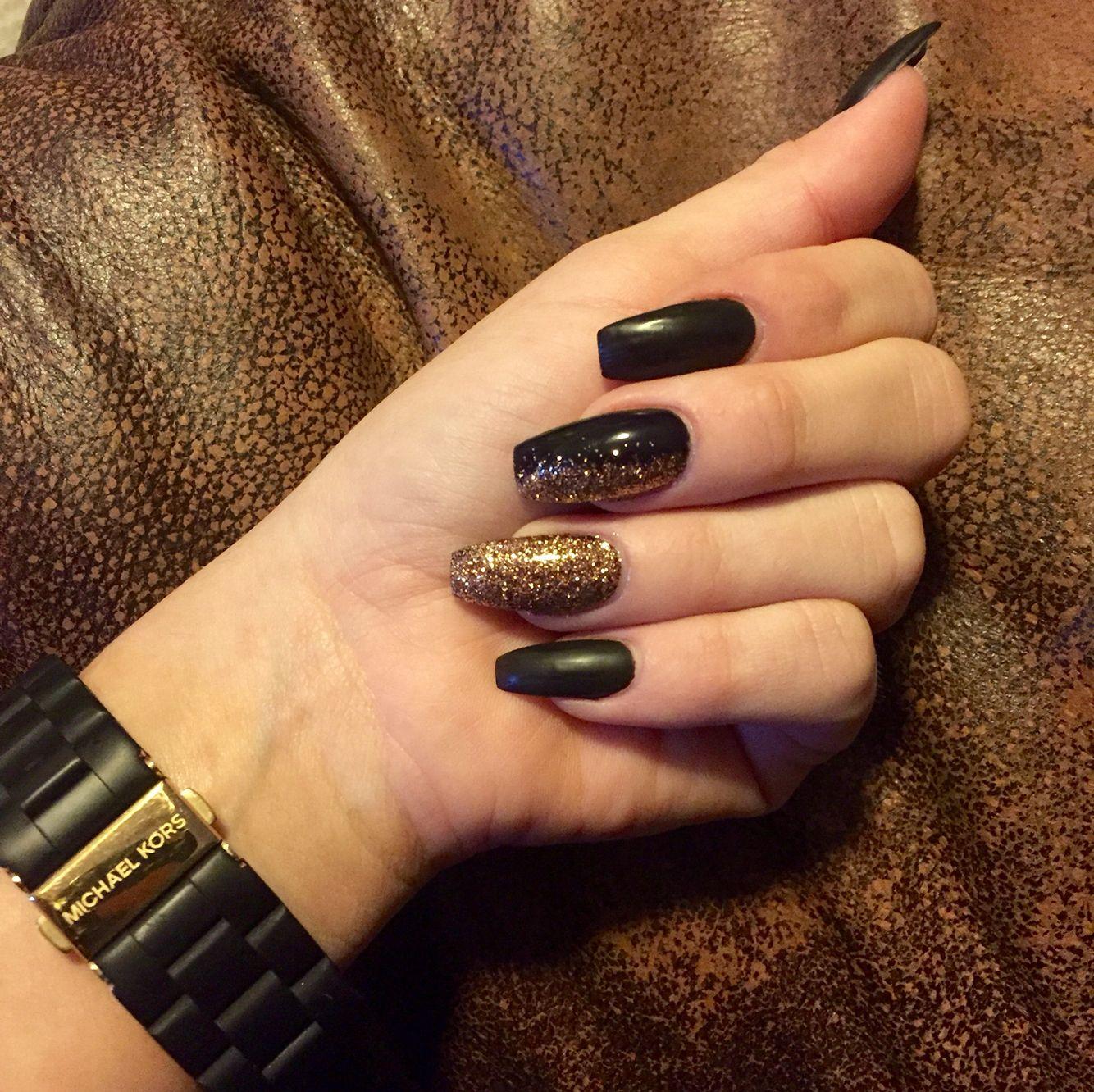 Matte black gold sparkles coffin shape nails gel acrylic | nails ...