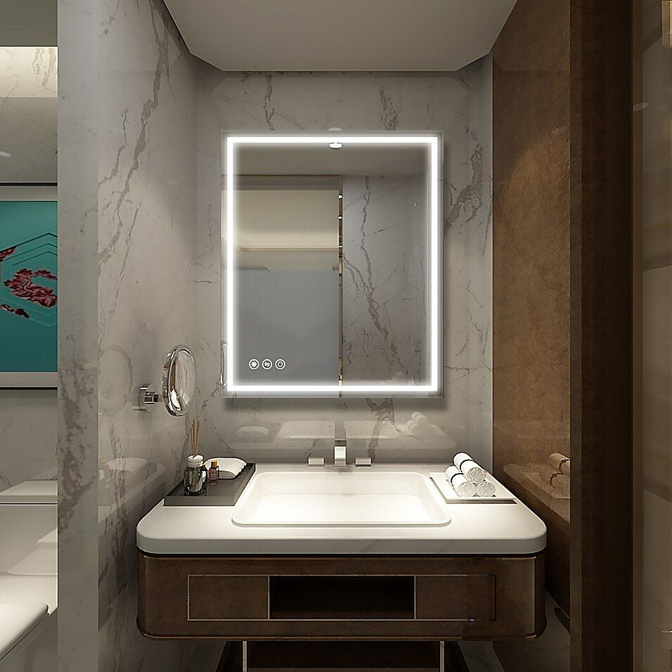 Boyelliving 30 Inch X 36 Inch Rectangular Led Lighted Bathroom Mirror With Touch Sensor Bed Bath Beyond Led Mirror Bathroom Bathroom Mirror Bathroom Vanity Mirror [ 956 x 956 Pixel ]