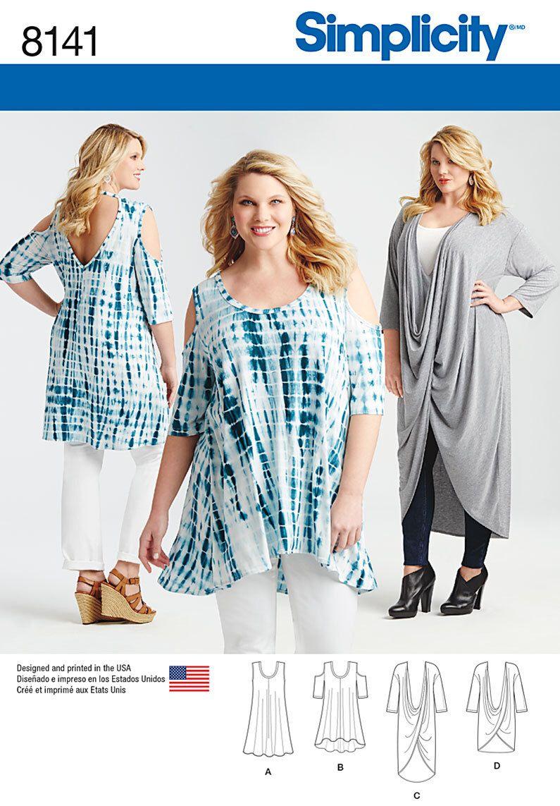 Simplicity Sewing Pattern 8141 Plus Size Knit Tunics and Mini Dress