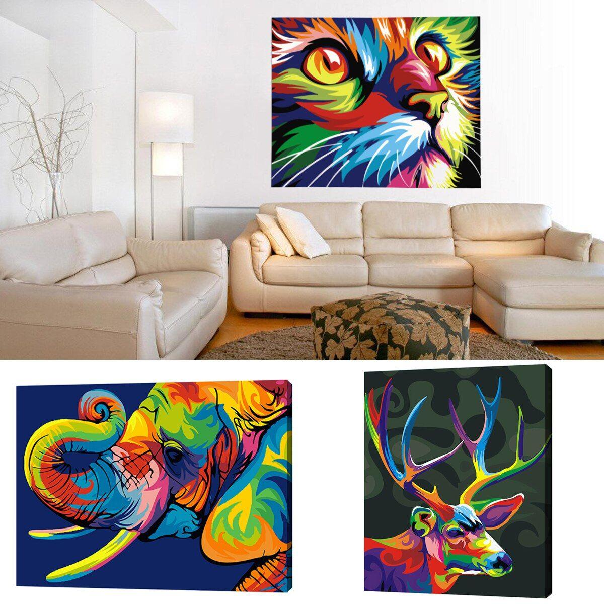 50x40cm colorful animals diy newest digital acrylic oil