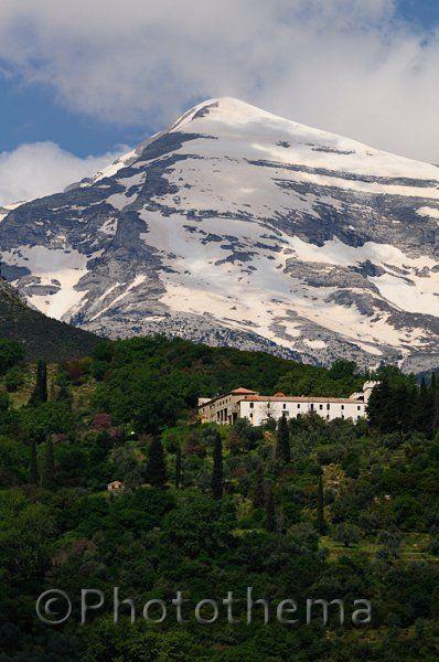 Monastery of Zerbitsa under the peak of Mt. Tayetos (2407 m)