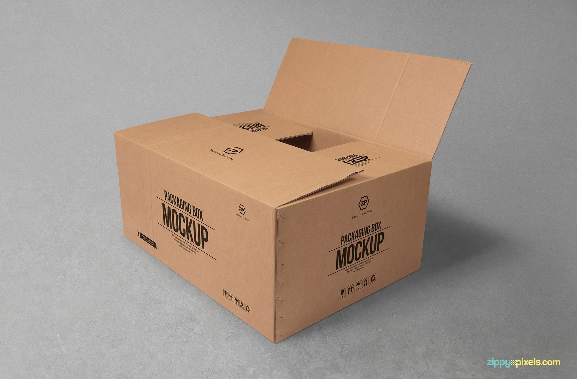 Download Free Cardboard Box Mockup For Packaging Design Yellowimages