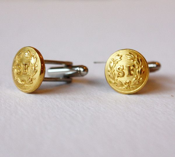SF Gold Vintage Button Cufflinks  by Compass Rose