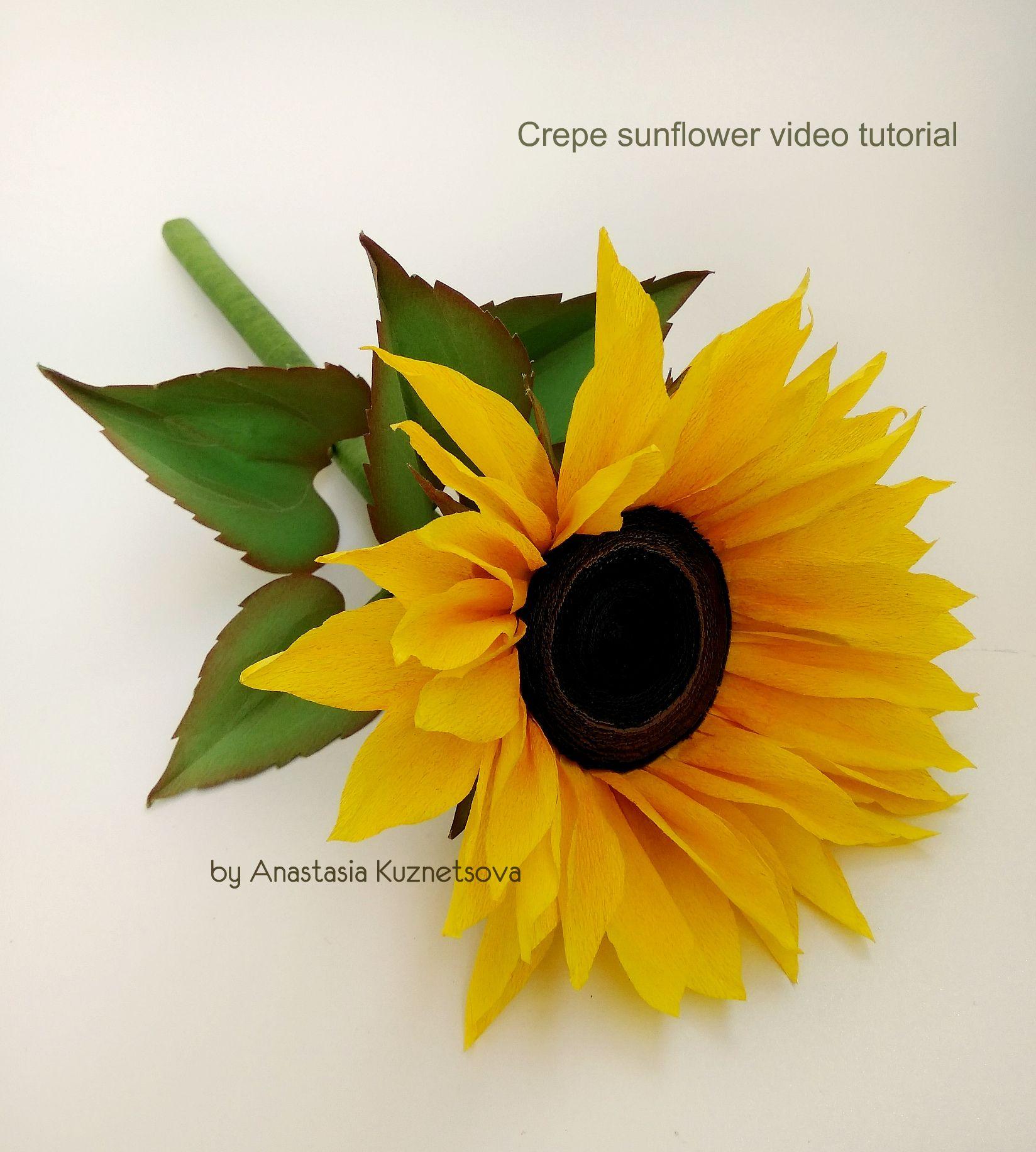 Crepe Paper Sunflower Video Tutorial Flowers Paper Sunflowers