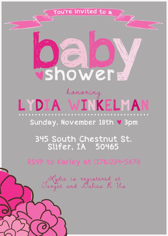 Modern Baby Girl Shower Invitation Printable by SplashOfSilver ...