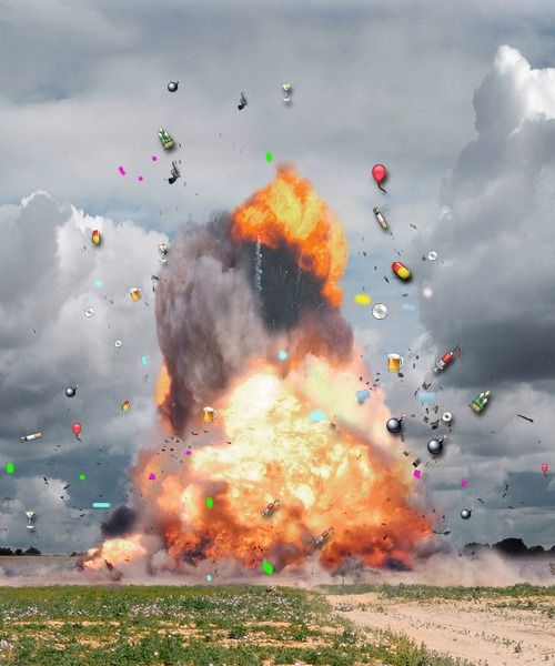 Emoji 3 Digital Collage 2014 Ibon Mainar Photo Manipulation Smoke Painting Explosion