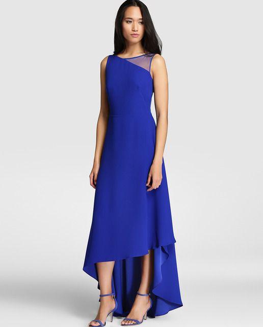 9197fe5b0e803 Vestido de mujer Fiesta El Corte Inglés en azul royal con largo asimétrico