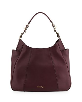 bc7c12d302ee Salvatore Ferragamo Elle Gancini-Chain Leather Hobo Bag, Rouge Noir, at  Neiman Marcus. $1850