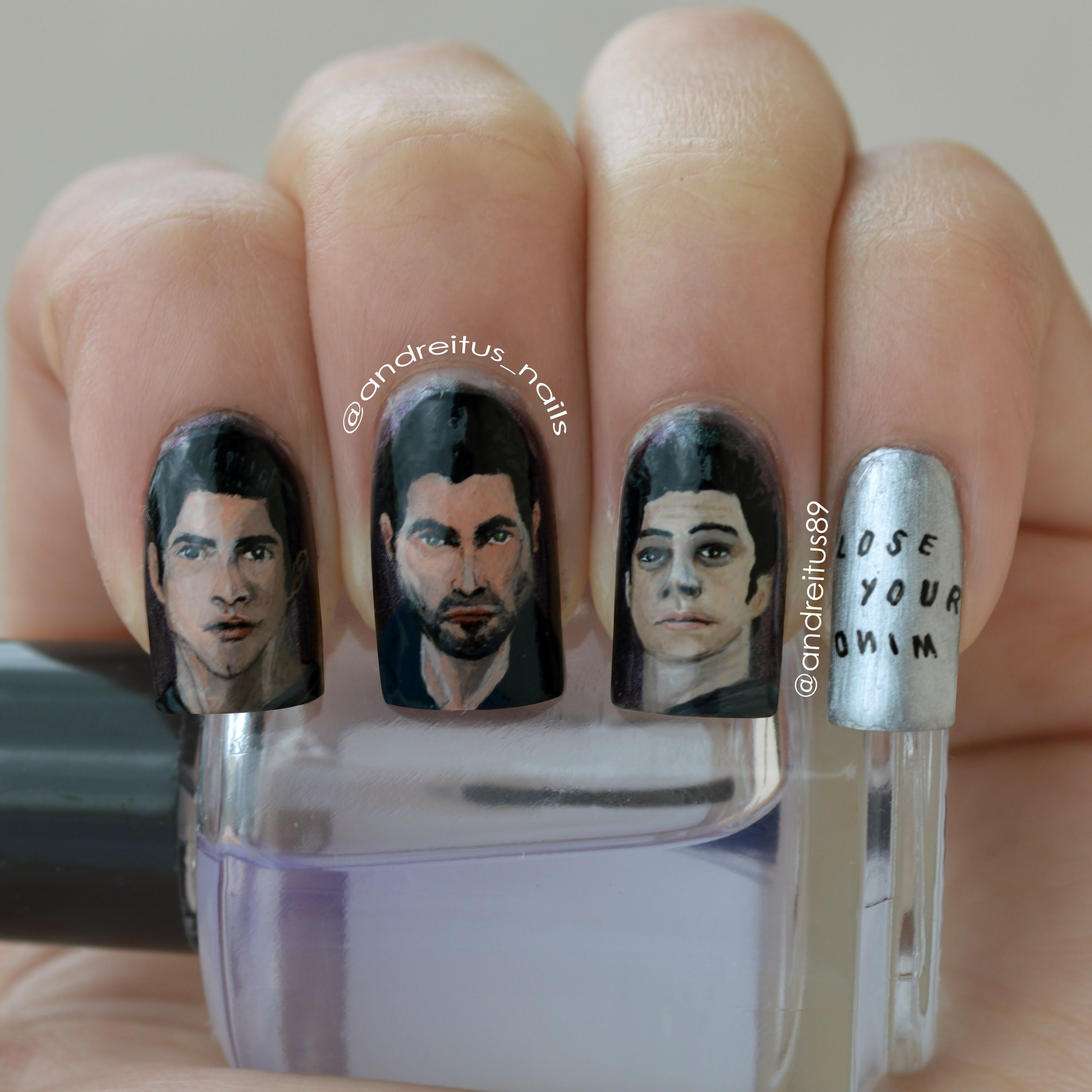 Teen Wolf nail art: How to draw Stiles step-by-step - YouTube ...