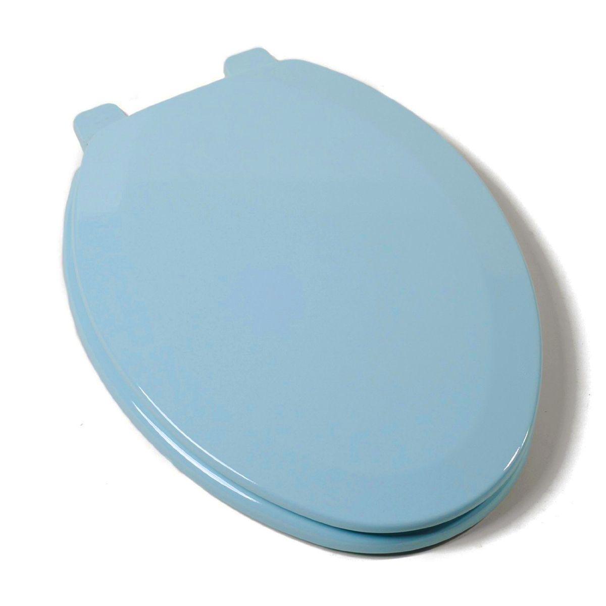 Deluxe Molded Wood Elongated Toilet Seat Regency Blue