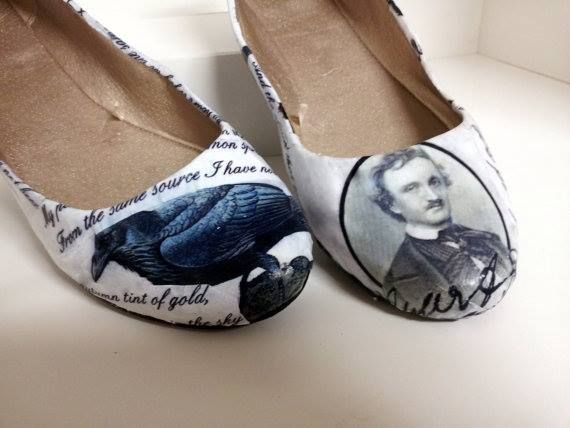 """Take thy beak from out my heart, and take thy form from off my door! Quoth the Raven, """"Nevermore."""" #shoes #books #EdgarAllanPoe"""
