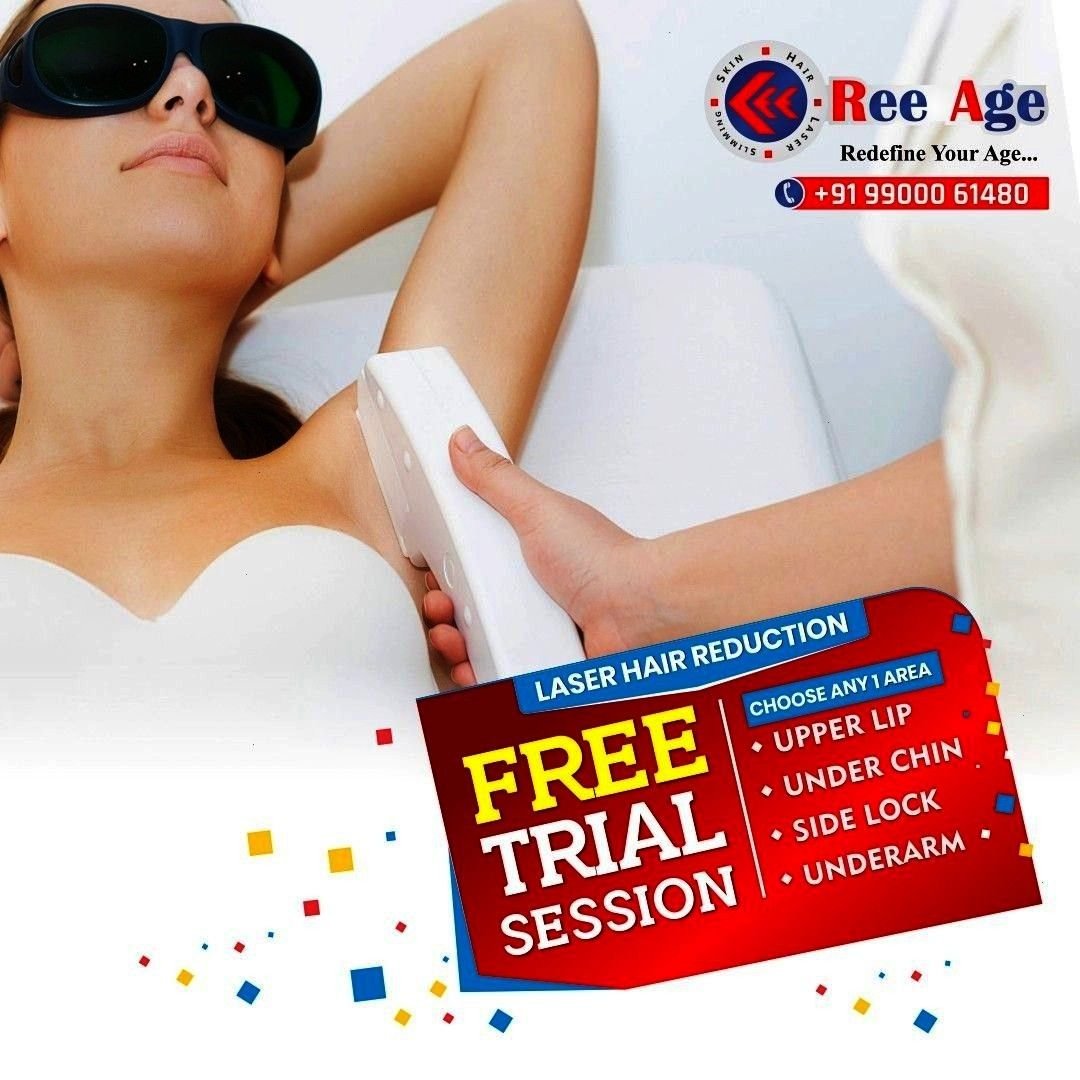 LIMITED PERIOD OFFER  Get Free Trial Session On Laser Hair Reduction At ReeAge Choose Any 1 Area Upper Lip Under Chin Side Lock Underarm For more information  9900061480...