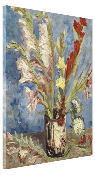 Vase with Gladioli and Chinese Asters by Vincent Van Gogh #Stretched #Canvas #Prints #VanGogh #flowers #gladiola #vase #asters #art