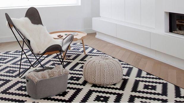 Badezimmerteppich Weiß ~ Bildergebnis für teppich schwarz weiss einrichtungsideen