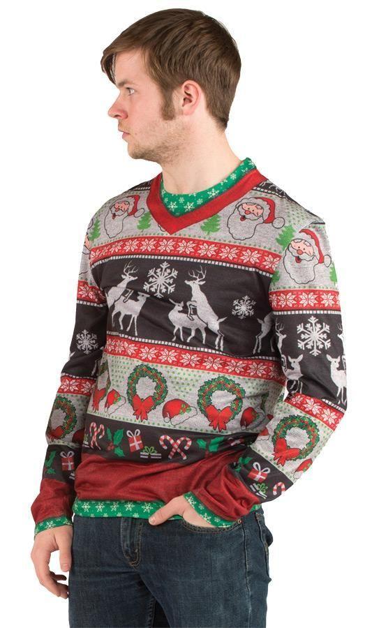 Ugly Christmas Sweater Frisky Deer T Shirt Men Costume FR115908 ...