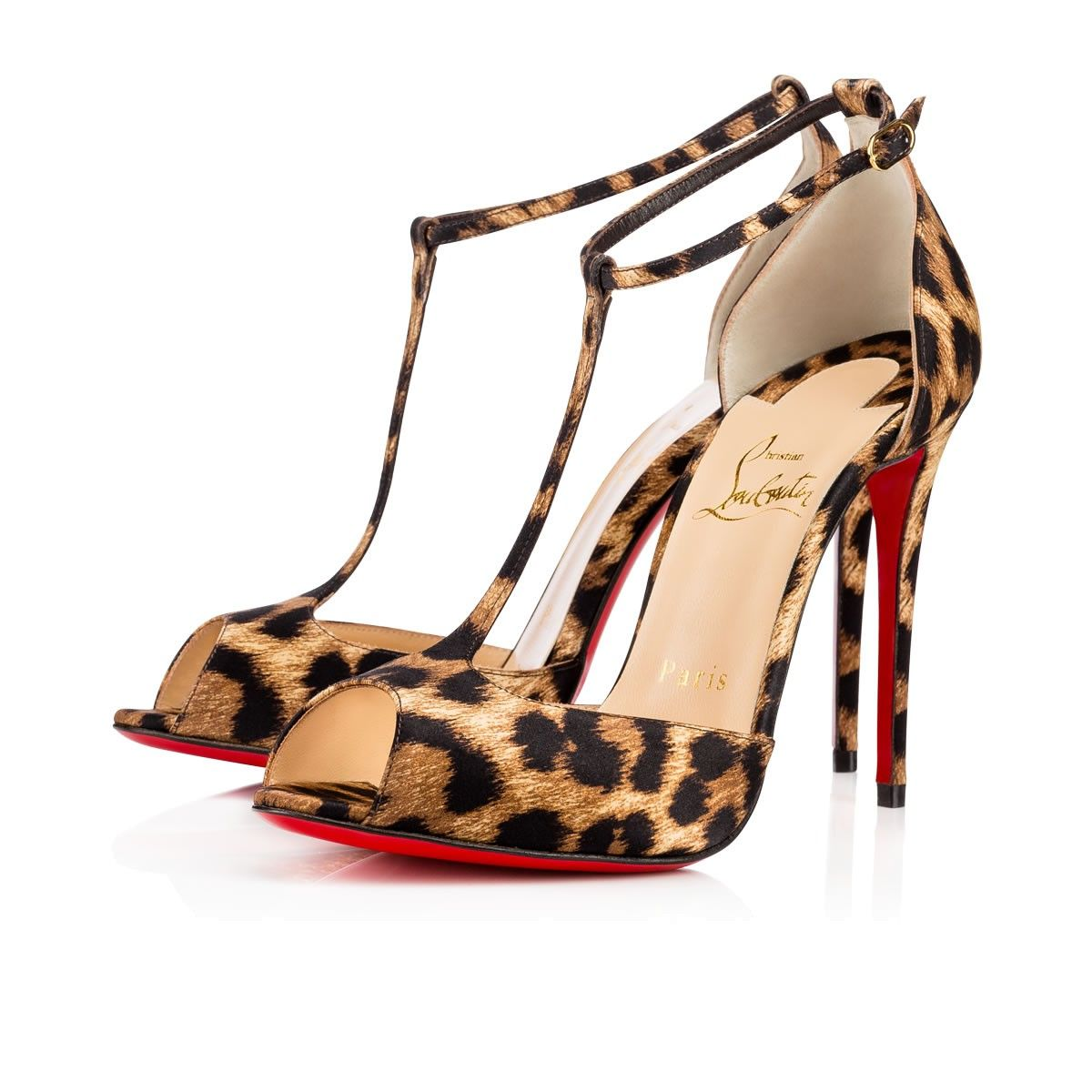 0139d95d67e CHRISTIAN LOUBOUTIN Senora 100 Brown Leopard Satin - Women Shoes ...