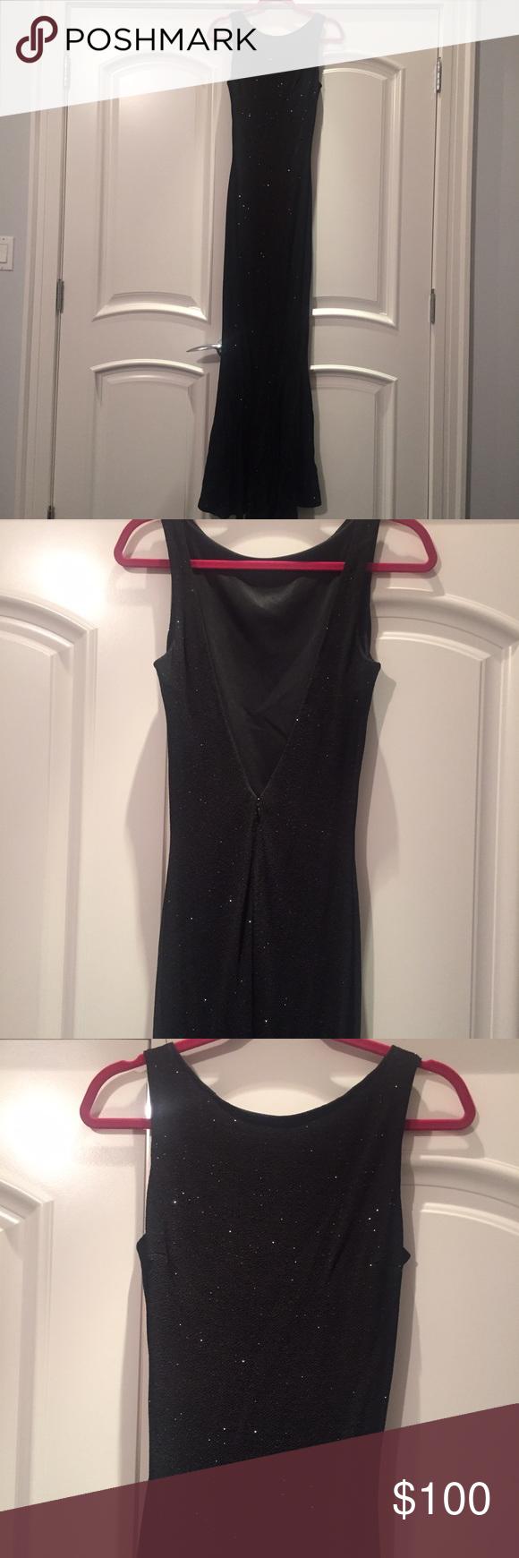 Long sequined black fishtail dress V-neck at back. Worn twice. Size 6 Jessica McClintock Dresses Wedding