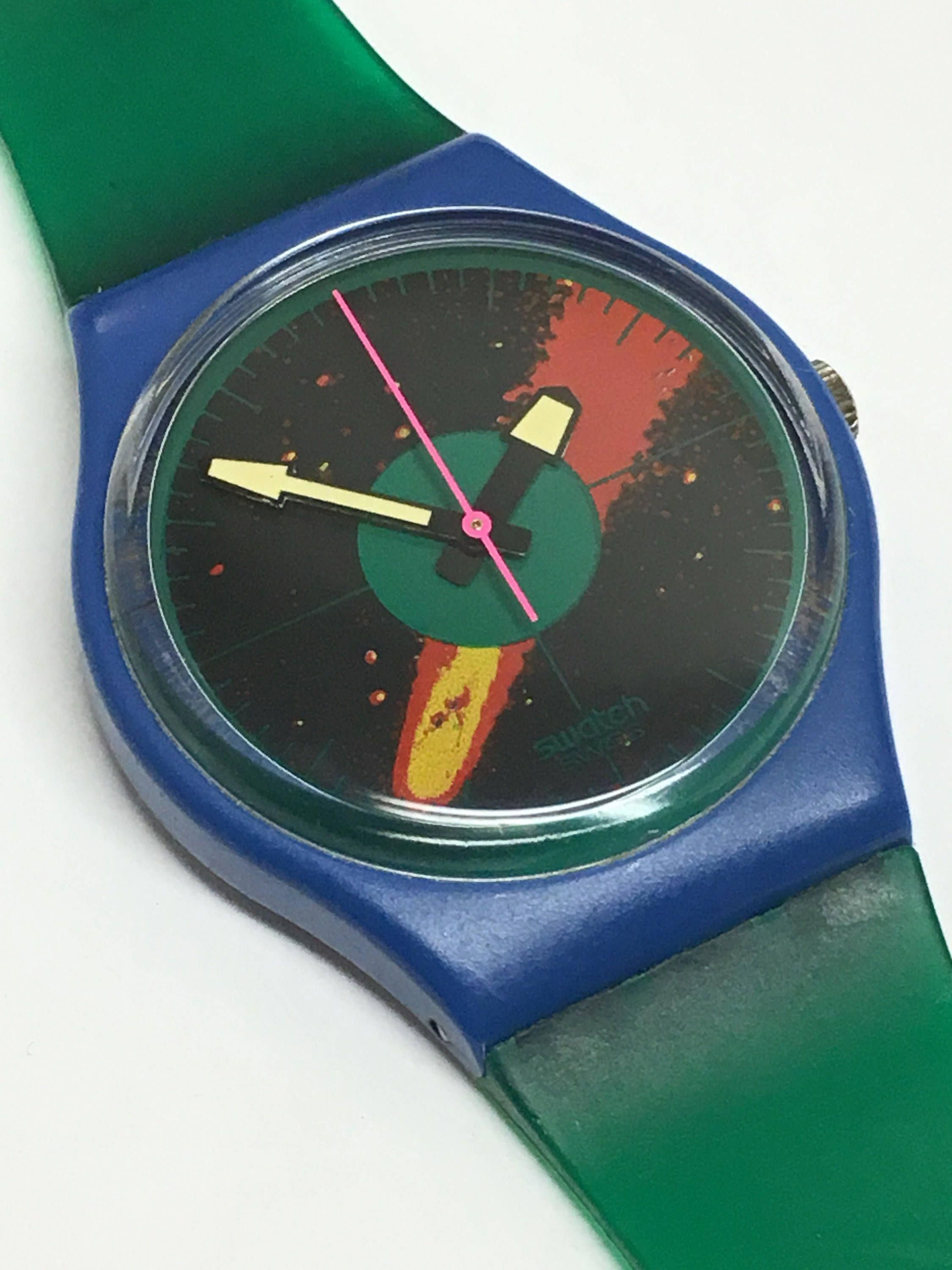 Christmas Comet 2020 Where To Look Vintage Swatch Watch Cosmic Encounter GS102 1986 Blue Green Jelly