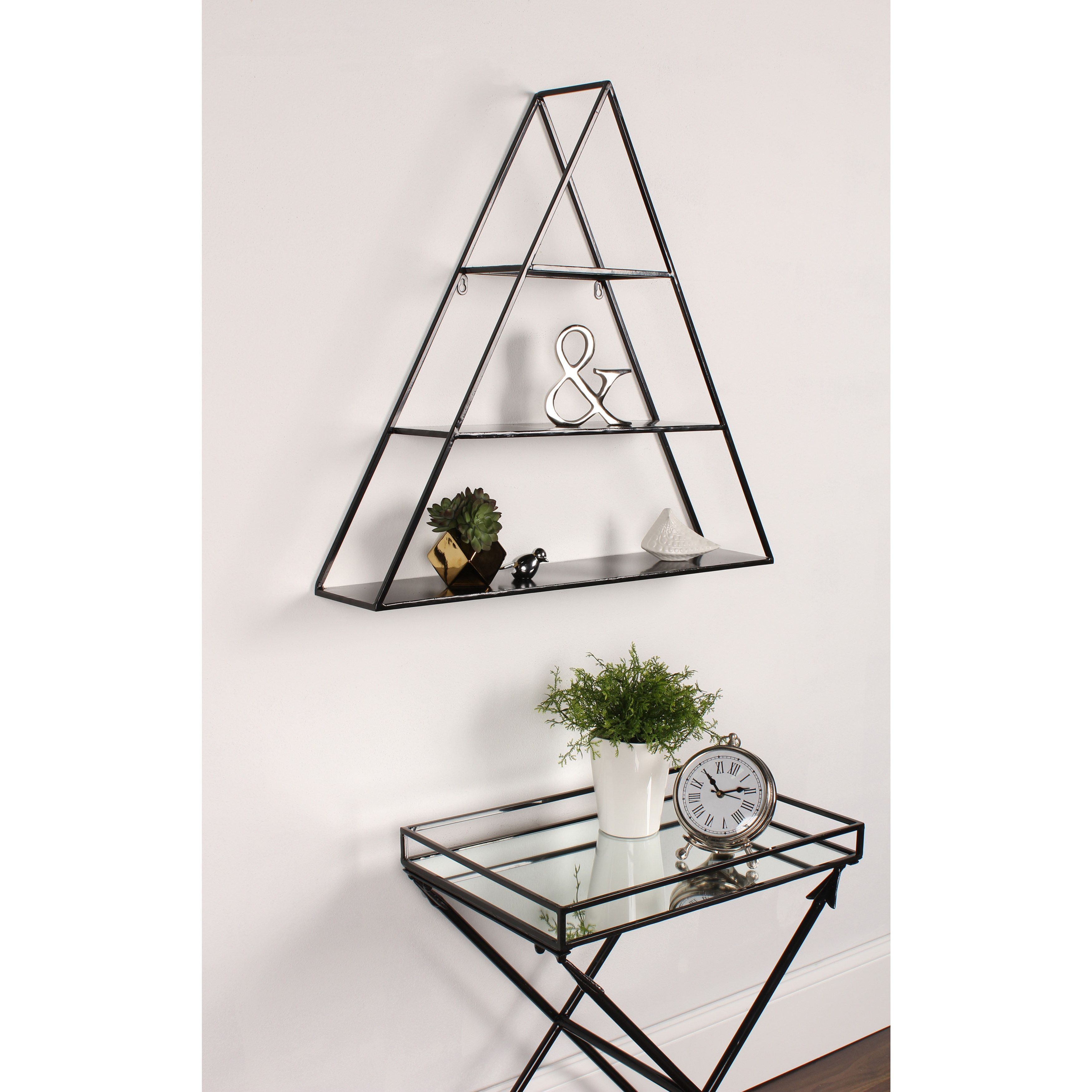 Kate And Laurel Tildan Black Metal 3 Tiered Triangle Floating Wall Shelf