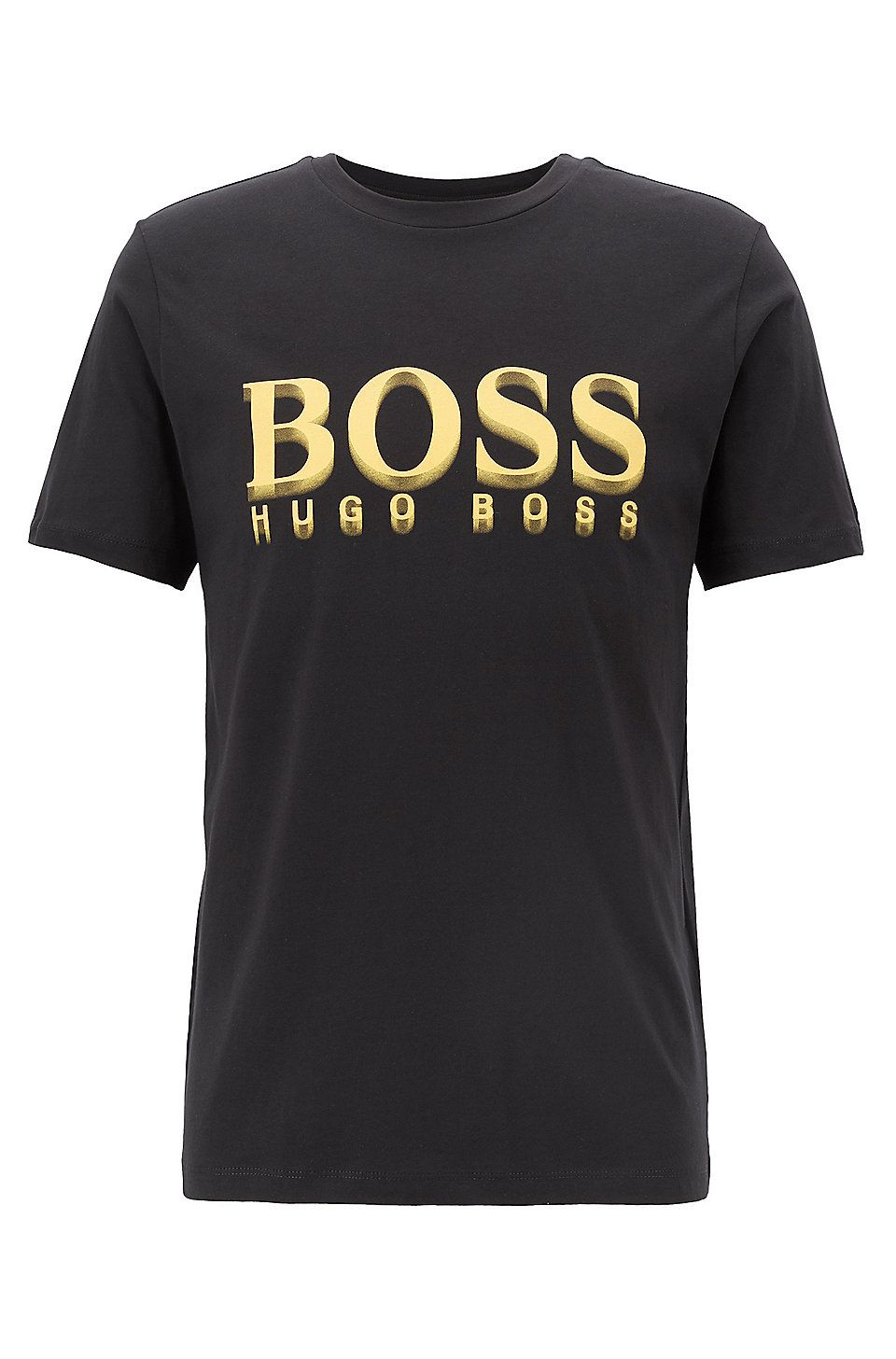 dfd55214c HUGO BOSS Crew-neck T-shirt in cotton with large logo print - Black ...