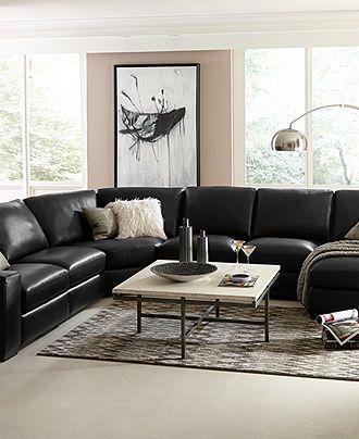 Fabrizio Leather Sectional Sofa Living Room Furniture