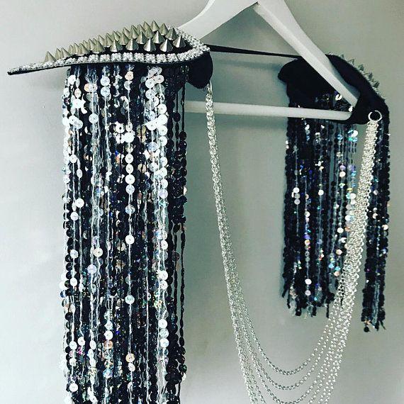 Black and silver sequin tassel festival epaulettes, tassel shoulder pads, sequin disco festival epaulettesm, sequin shoulderpiece, rave wear