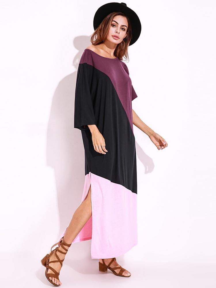 9617d33140279 Women Off Shoulder Loose Color Patchwork Side Split Shirt Dress ...