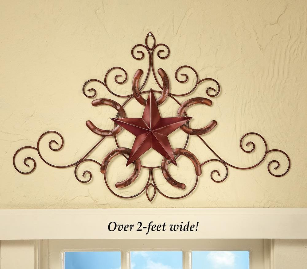 Wall Art Metal Southwest Western Horseshoe and Star Country Home ...