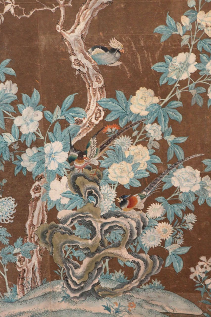 Early 19th Century Chinese HandPainted Wallpaper Panels