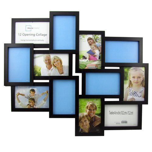 Mainstays Black Collage Frame Twelve 4x6 Openings Walmart Com Framed Photo Collage Collage Frames Frame