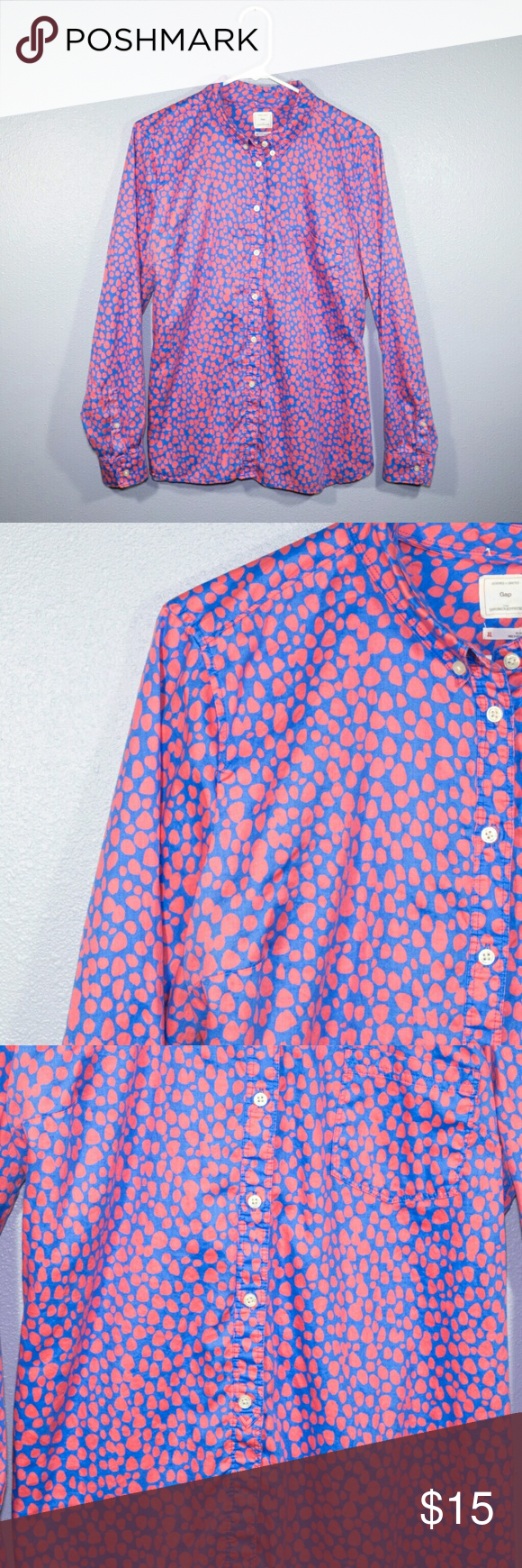Gap Patterned Button Down I love the pattern on this Gap Button Up. This button is the shrunken boyfriend style. The colors are bright too. In like new condition. Add this to a bundle for a further discount. GAP Tops Button Down Shirts