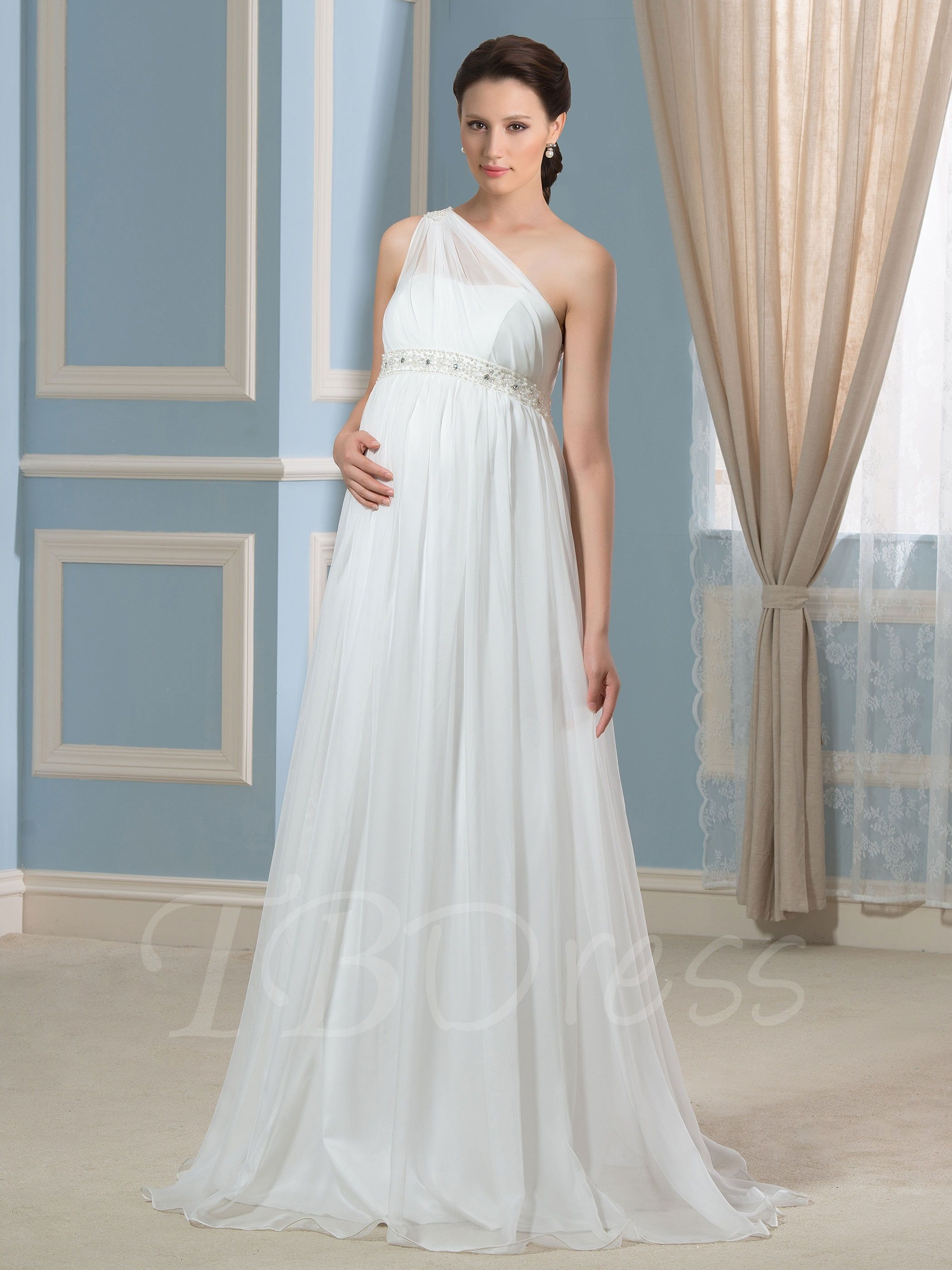 Chiffon Empire Maternity Dress With Belted Waistband Pregnant Wedding Dress Empire Maternity Dress Maternity Dresses