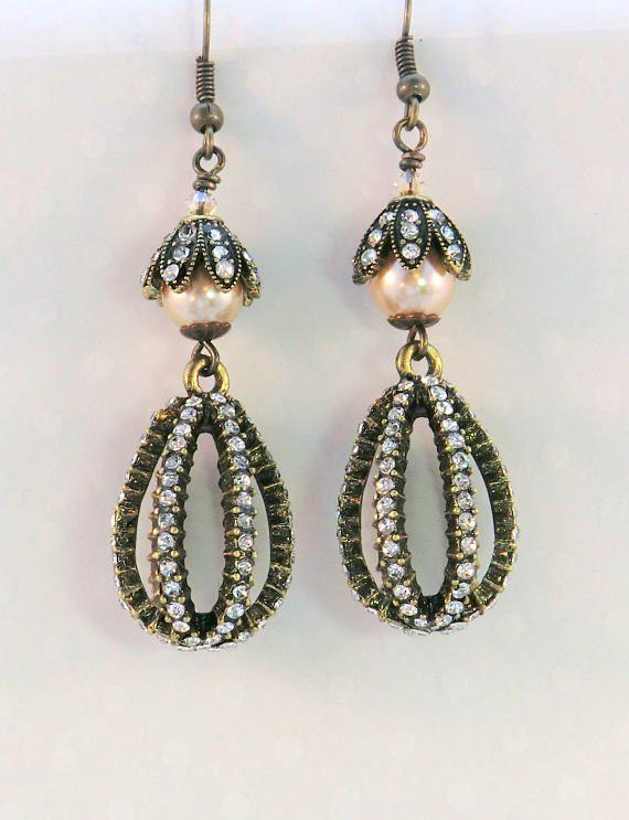 Vintage Style Glam Rhinestone Earrings Cream Pearl And Dressy Earrings Earrings Rhinestone Earrings