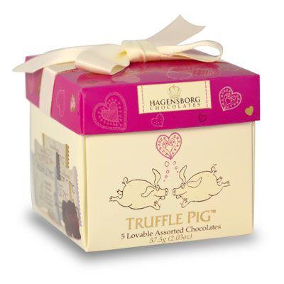 Valentines Day mixed piglet chocolate box Hagensborg Chocolates