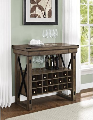 Genial Rustic Bar Cabinet Wine Rack Storage Unit Shelf Display Cabinet Gray Grey  Decor