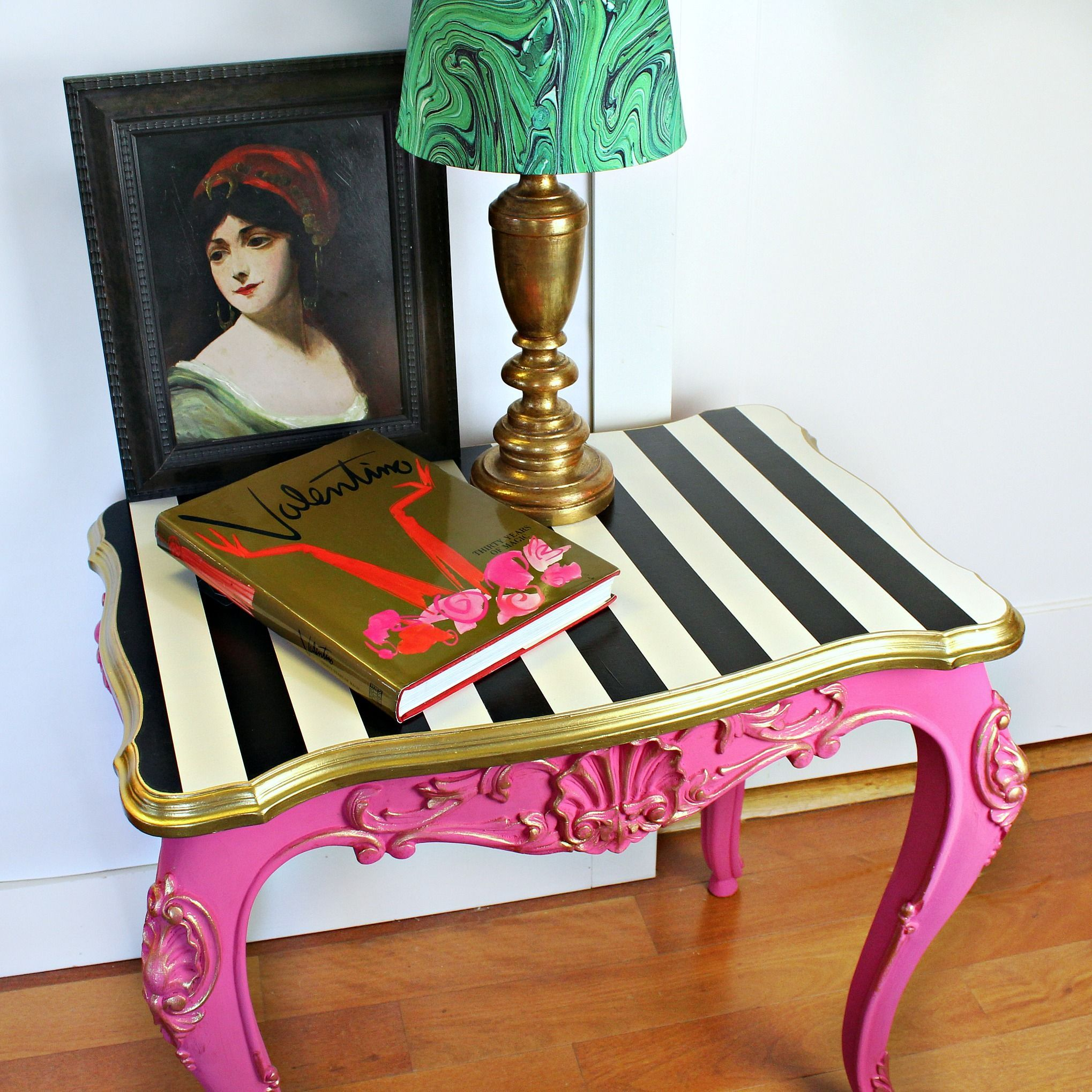 Thrift store table makeover! #DecoArt #OutdoorLiving #MarieAntoinette #OldChair