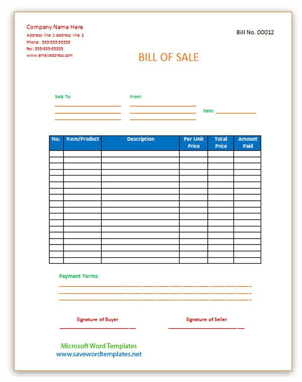 Bill Formats. 4 Trailer Bill Of Sale Templates - Formats, Examples
