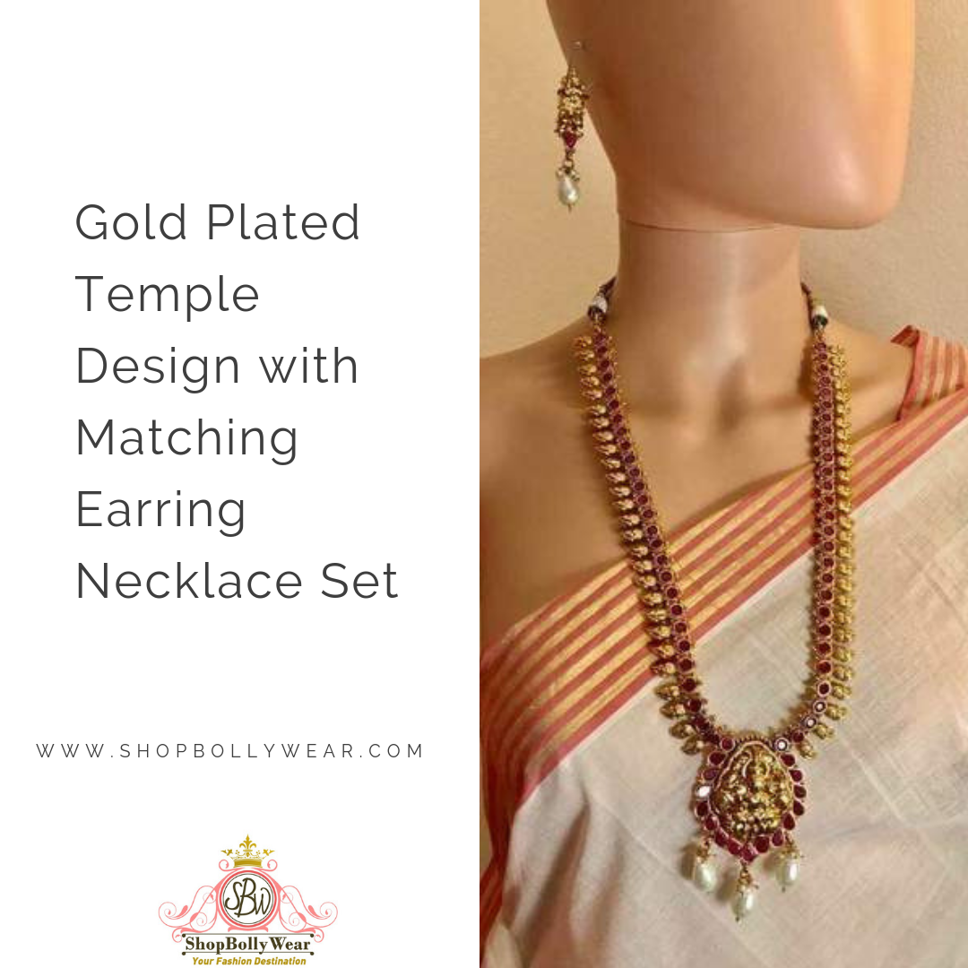 Gold plated temple design with matching earring necklace set