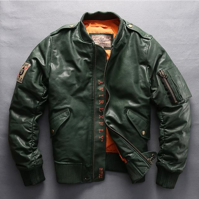 Ladies ALPHA 4 Green New Bomber Style Retro Real Cowhide Leather Designer Jacket
