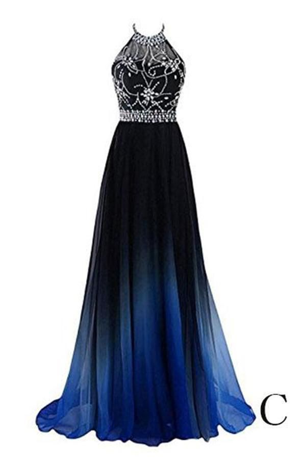 Beautiful Halter Long Blue And Black Ombre Chiffon Prom Dresses Z1000 4