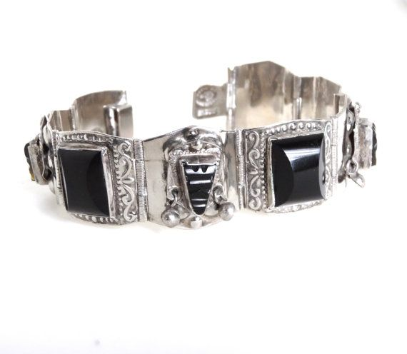Vintage Mexican Silver Mens Bracelet Black Obsidian Aztec Mask Panel Links Signed Alpaca Made In Mexico 1940s