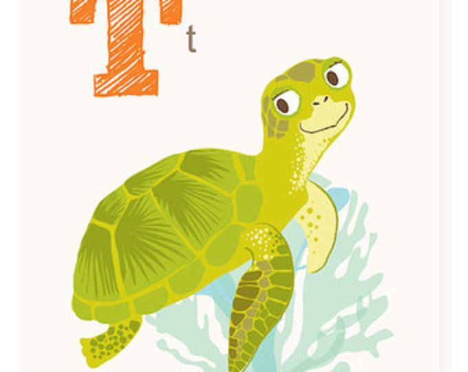 ABC wall art, ABC card, T is for Turtle, alphabet flash cards ...
