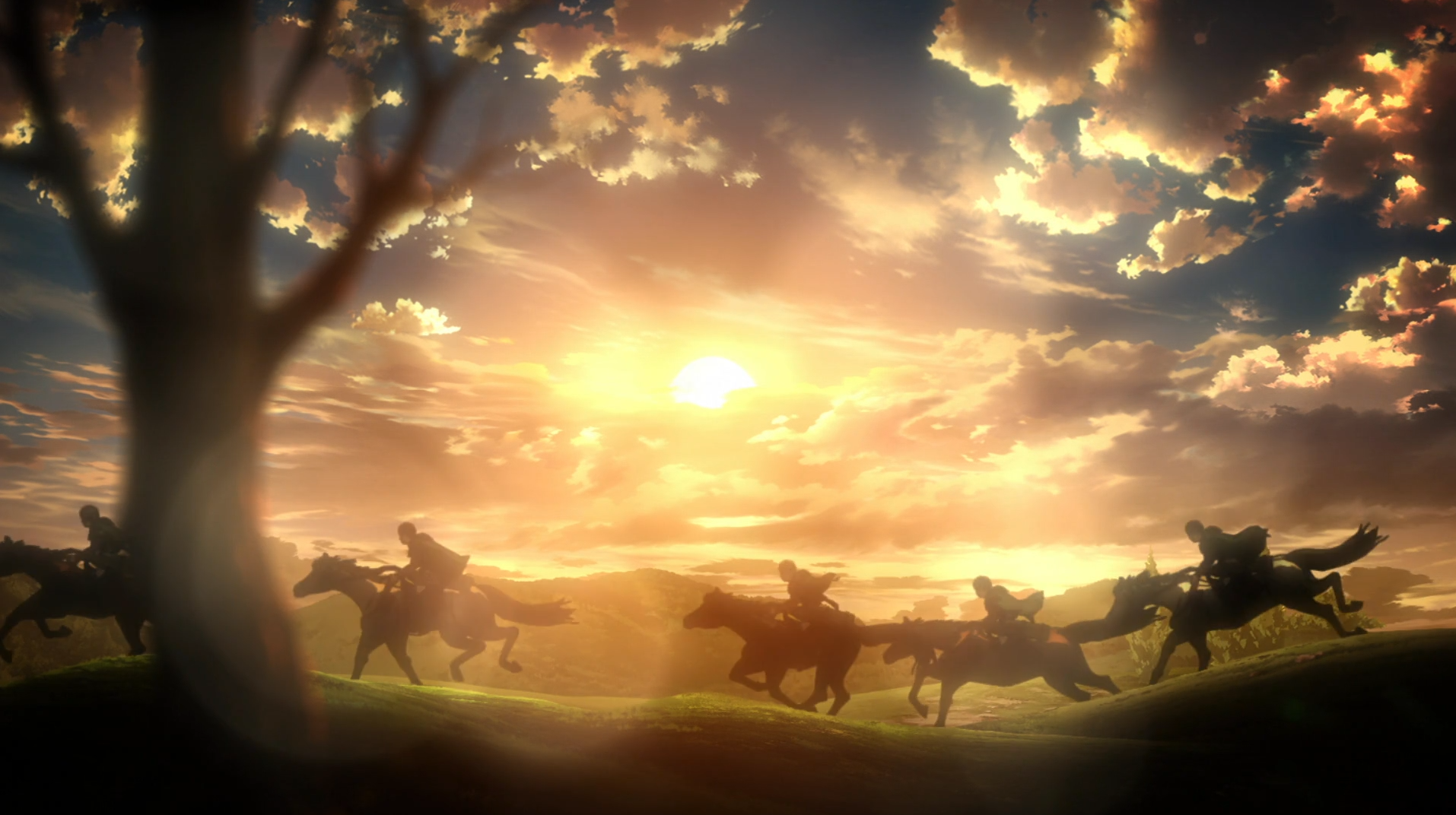 Anime Attack On Titan Sunset Scouting Legion Shingeki No Kyojin Wallpaper Attack On Titan Attack On Titan Anime Attack On Titan Aesthetic