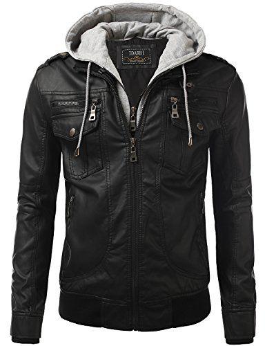 93ba9ba47 IDARBI Men's Premium Pu Leather Motorcycle Bomber Jacket ...   Moda ...