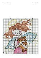 cross stitch angel withe bear for kids