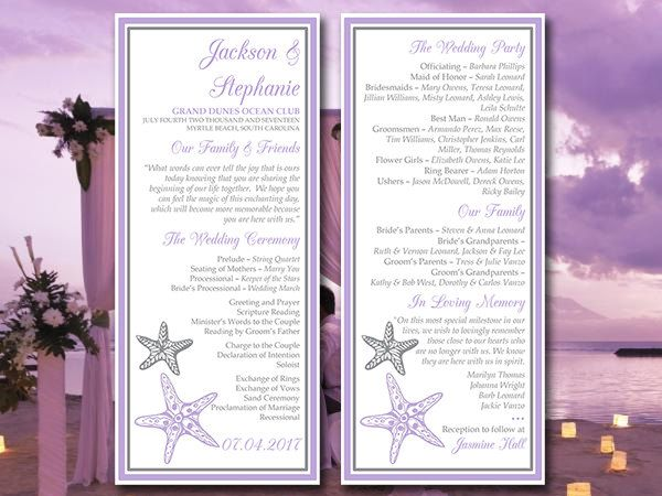 Beach Wedding Program Template Blissful Starfish Printable Lilac Silver Ceremony Instant Diy By
