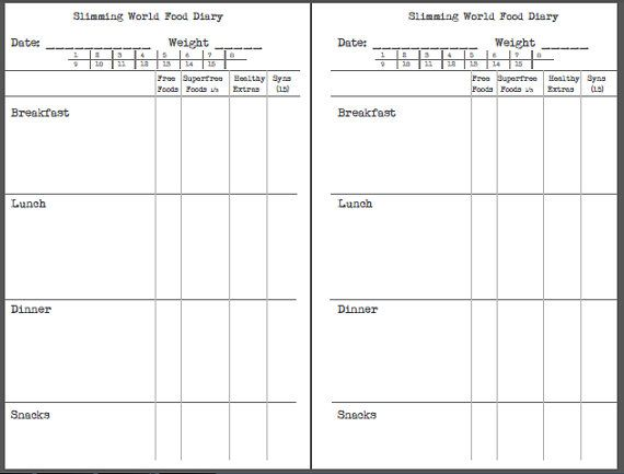 Slimming World Food Diary Notebook Upgrade Only For