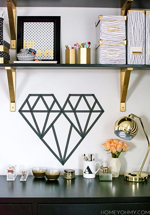 diy washi tape geometric heart tempor re wand w nde und einfach. Black Bedroom Furniture Sets. Home Design Ideas